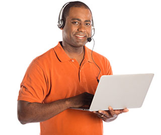 Teacher with Headset and Laptop