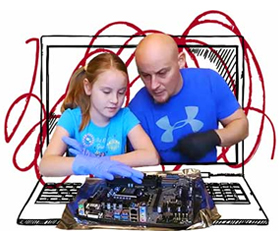 Photo of Kinzley and her dad working on a computer