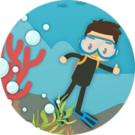 Icon of child scuba diver