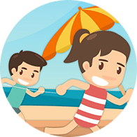 Icon of children playing at the beach