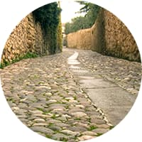 Photo of cobblestone street