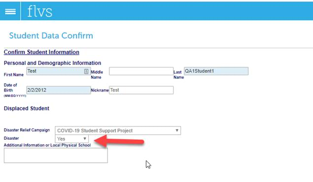 Screenshot showing where on the Student Data Confirm page in VSA to click the drop down for Disaster.
